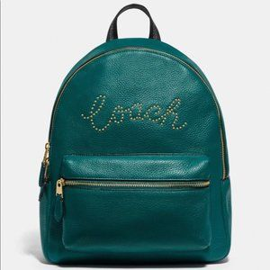 NWT Coach Studded md abbey backpack leather green